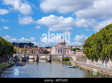 St Peter's Basilica and the Ponte Sant'Angelo over the River Tiber, Rome, Italy - Stock Photo