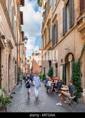 Sidewalk cafe on Via dei Coronari in the centro storico, Rome, Italy - Stock Photo