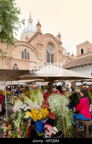 Cuenca Ecuador, the flower market in the shadow of the cathedral, Cuenca, UNESCO World Heritage site, Ecuador South - Stock Photo