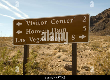 Direction sign at Lake Mead National Recreation Area Nevada, USA. - Stock Photo