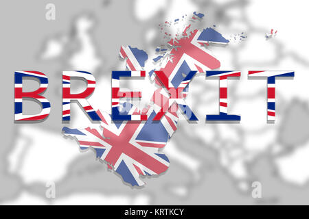 United Kingdom map with Brexit on Europe background - Stock Photo