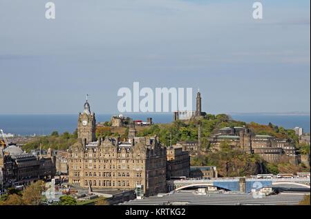 View from Edinburgh Castle toward Calton Hill, Firth of Forth, Balmoral Hotel and Waverley Station, Edinburgh, Scotland, - Stock Photo