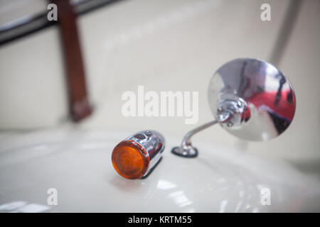 Vintage car mirror and turn signal - Stock Photo