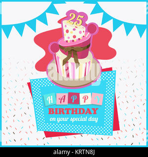 Colorful Happy Birthday Greeting Card - Stock Photo