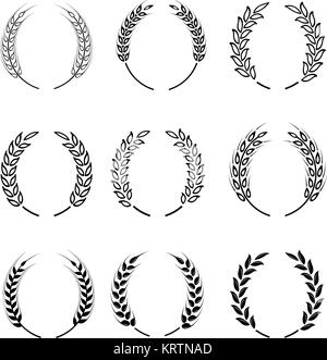 Black laurel wreath - a symbol of the winner. Wheat ears or rice icons set. Agricultural symbols isolated on white - Stock Photo