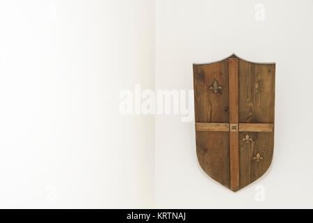 Hand Made Wooden Shield Wall Mounted Interior Home - Stock Photo