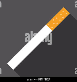 cigarette icon with long shadow - Stock Photo