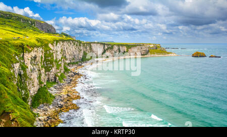 Scenic panorama near Carrick-a-Rede Rope Bridge, near Ballintoy in County Antrim, Northern Ireland. - Stock Photo