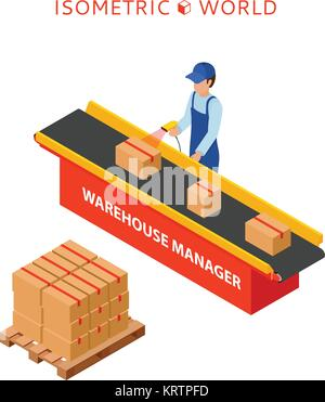 Warehouse manager or warehouse worker with bar code scanner checking goods on a conveyor belt. Flat 3d vector isometric - Stock Photo