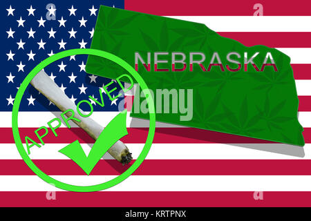 Nebraska on cannabis background. Drug policy. Legalization of marijuana on USA flag, - Stock Photo