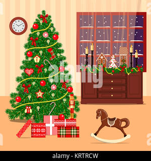 Christmas decorated room with xmas tree, window, toys - Stock Photo
