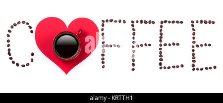Coffeebeans text and red coffee cup with heart on white background - Stock Photo