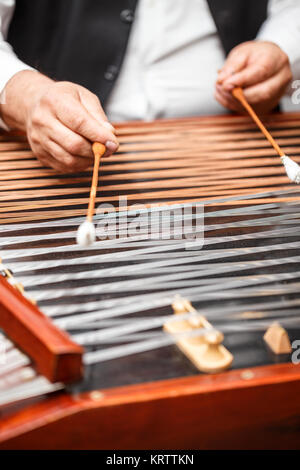 Dulcimer folk musical instrument - Stock Photo