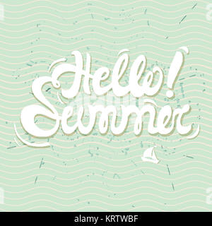 Hello summer poster, lettering with conceptual background - Stock Photo