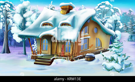 Fairy Tale House  on the Edge of a Forest in Winter Day - Stock Photo
