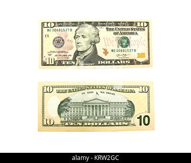 Close up of ten dollar isolate on white background. - Stock Photo