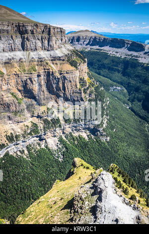 sight of monte perdido and ordesa's valley in the spanish national park ordesa and monte perdido,pyrenees - Stock Photo