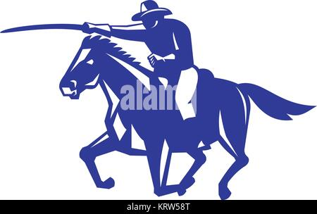 Retro style illustration of an American or United States  Cavalry riding on horse with sword Charging viewed from - Stock Photo