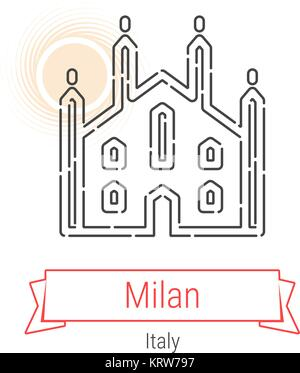 Milan, Italy Vector Line Icon - Stock Photo