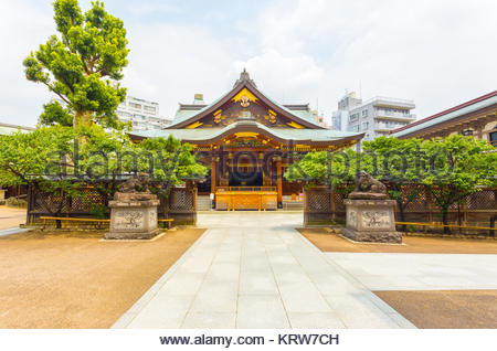 Yushima Tenman-Gu Shrine Front Entrance Centered H - Stock Photo
