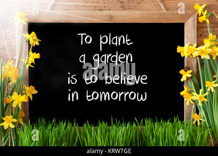 Blackboard With English Quote To Plant A Garden Is To Believe In Tomorrow. Sunny Spring Flowers Nacissus Or Daffodil - Stock Photo