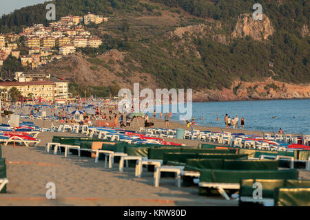 Alanya - Late afternoon on Cleopatra Beach. Alanya is one of most popular seaside resorts in Turkey - Stock Photo