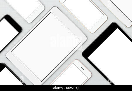 mock-up smart phone and digital tablet, modern communication device on top view - Stock Photo