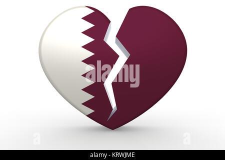 Broken white heart shape with Qatar flag - Stock Photo