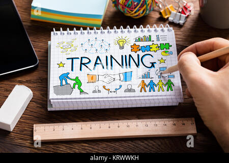 Person Drawing Training Concept On Notepad - Stock Photo