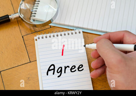 I agree concept on notebook - Stock Photo