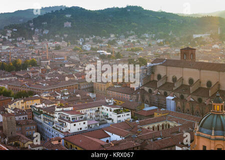 above view of Bologna town from Torre Asinelli - Stock Photo