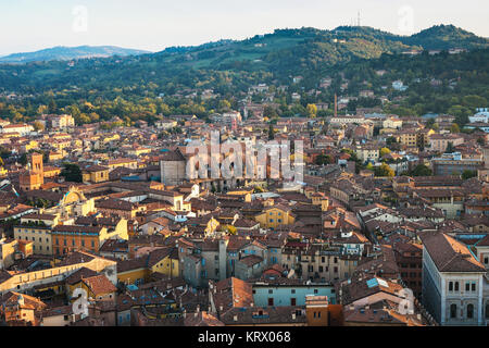 above view of Bologna city from Torre Asinelli - Stock Photo