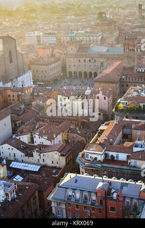 view of houses and piazza maggiore in Bologna city - Stock Photo