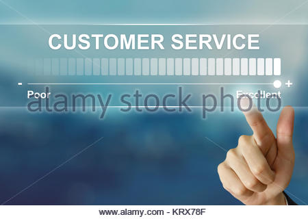 business hand clicking excellent customer service on virtual screen - Stock Photo