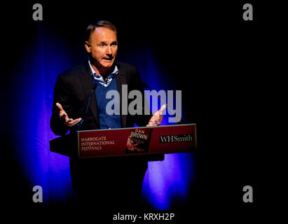 Harrogate, North Yorkshire, UK. 9th Oct, 2017. Author Dan Brown does his only UK Public appearance at the Harrogate - Stock Photo