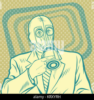 Pop art retro man in gas mask pointing sideways - Stock Photo