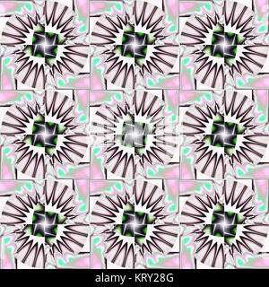 Abstract geometric seamless background. Regular futuristic radial circles and squares pattern with elements in white, pink, light gray and green with black outlines.