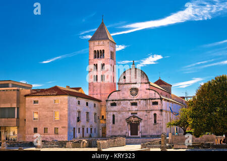 Zadar historic church and roman artifacts - Stock Photo