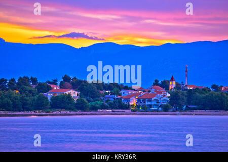 Colorful dawn on Vir island - Stock Photo