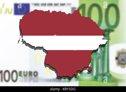 close up on lithuania map on euro money background - Stock Photo