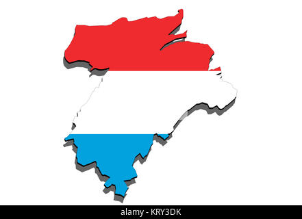 close up on lithuania map on white background - Stock Photo