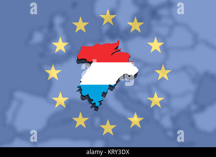 close up on lithuania map on europe and euro union background - Stock Photo