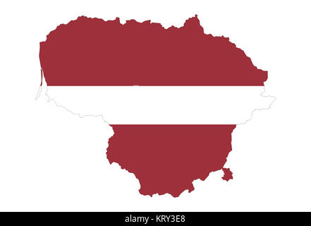 close up on lithuania map on white background,no shadows - Stock Photo