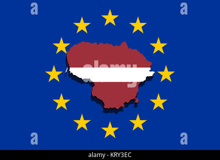 close up on lithuania map on euro union background - Stock Photo