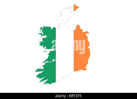 close up on ireland map on a white background,no shadows - Stock Photo