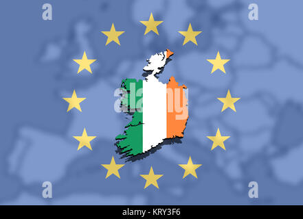close up on ireland map on europe and euro union background - Stock Photo