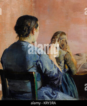 Christian Krohg (1852-1925). Norwegian painter. Braiding her Hair, 1888. National Gallery. Oslo. Norway. - Stock Photo