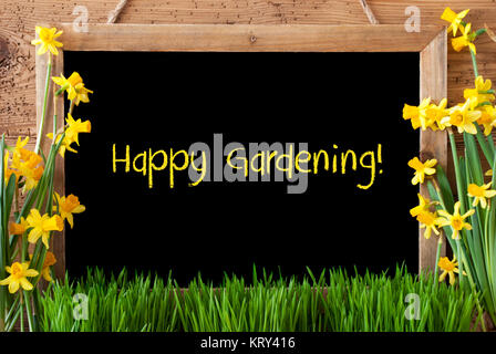 Blackboard With English Text Happy Gardening. Spring Flowers Nacissus Or Daffodil With Grass. Rustic Aged Wooden - Stock Photo