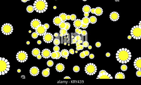 Computer Graphic flower background. White and yellow color - Stock Photo
