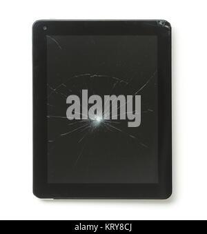 Tablet computer with broken screen. - Stock Photo